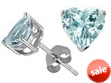 Tommaso Design™ 7mm Heart Shape Simulated Aquamarine Earrings Studs style: 23309