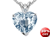 Tommaso Design™ 8mm Heart Shape Simulated Aquamarine and Genuine Diamond Pendant