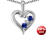 Tommaso Design™ Round Genuine Sapphire and Diamond Heart Pendant