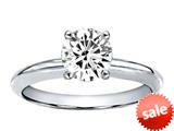 Tommaso Design™ 7mm Round Genunie White Topaz Solitaire Engagement Ring