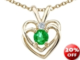 Tommaso Design™ Round Simulated Emerald and Genuine Diamond Heart Pendant
