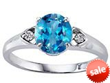 Tommaso Design™ Round 7mm Genuine Blue Topaz and Diamond Engagement Ring