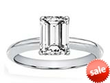Tommaso Design™ Genuine White Topaz 8x6mm Emerald Cut Solitaire Engagement Ring