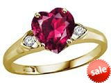 Tommaso Design™ Heart Shape 8mm Created Ruby and Genuine Diamond Engagement Promise Ring style: 25392