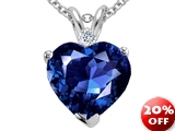 Tommaso Design™ 8mm Heart Shape Created Sapphire and Genuine Diamond Heart Pendant