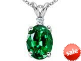 Tommaso Design™ Simulated Emerald And Genuine Diamond Pendant