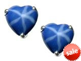 Tommaso Design™ Heart Shape Created Star Sapphire Earring Studs