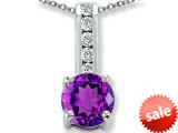 Original Star K™ Round 7mm Genuine Amethyst Pendant