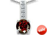 Original Star K™ Round 7mm Genuine Garnet Pendant