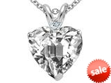Tommaso Design™ 8mm Heart Shape Genuine White Topaz and Diamond Heart Pendant