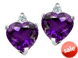 Tommaso Design™ Heart Shape Amethyst and Genuine Diamonds Earring Studs