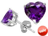 Tommaso Design™ Heart Shape 6mm Genuine Amethyst Earring Studs