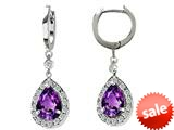 Original Star K™ Pear Shape Simulated Amethyst Drop Earrings Dangling On Huggie Hoop style: 26271