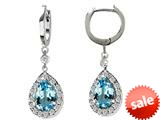 Original Star K™ Pear Shape 9x7mm Simulated Blue Topaz Drop Earrings Dangling On Huggie Hoop style: 26272