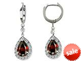Original Star K™ Pear Shape 9x7mm Simulated Garnet Drop Earrings Dangling On Huggie Hoop style: 26274