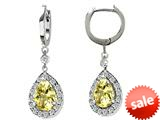 Original Star K™ Pear Shape 9x7mm Genuine Lemon Quartz  Drop Earrings Dangling On Huggie Hoop