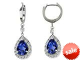 Original Star K™ Pear Shape 9x7mm Created Sapphire Drop Earrings Dangling On Huggie Hoop style: 26285