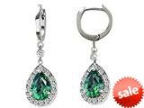 Original Star K™ Pear Shape 9x7mm Simulated Emerald Drop Earrings Dangling On Huggie Hoop