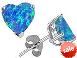Original Star K™ 7mm Heart Shape Created Blue Opal Earring Studs