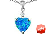Original Star K™ Heart Shape 8mm Created Blue Opal Pendant