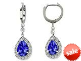 Original Star K™ Pear Shape 9x7mm Simulated Tanzanite Drop Earrings Dangling On Huggie Hoop style: 26369
