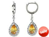 Original Star K™ Pear Shape 9x7mm Simulated Lemon Quartz Drop Earrings Dangling On Huggie Hoop