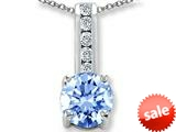 Original Star K™ Round 7mm Simulated Aquamarine Pendant