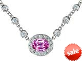 Original Star K™ Oval 10x8mm Created Pink Sapphire Necklace
