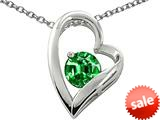 Original Star K™ 7mm Round Simulated Emerald Heart Pendant