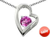 Original Star K™ 7mm Round Created Pink Sapphire Heart Pendant