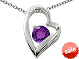 Original Star K™ Genuine 7mm Round Amethyst Heart Pendant style: 26561