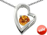 Original Star K™ 7mm Round Genuine Citrine Heart Pendant