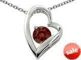 Original Star K™ Genuine 7mm Round Garnet Heart Pendant
