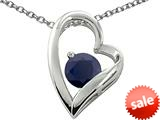 Original Star K™ Genuine 7mm Round Black Sapphire Heart Pendant style: 26566