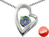 Original Star K™ 7mm Round Mystic Rainbow Topaz Heart Pendant