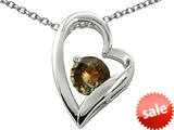 Original Star K™ Genuine 7mm Round Smoky Quartz Heart Pendant