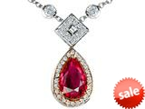 Original Star K™ Two Toned Created Pear Shaped Ruby Necklace