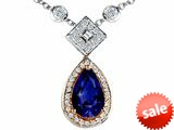 Original Star K™ Two Toned Created Pear Shaped Sapphire Necklace style: 26631