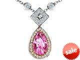Original Star K™ Two Toned Created Pear Shaped Pink Sapphire Necklace