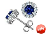 Original Star K™ Round Created Sapphire Earrings style: 26636