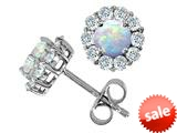 Original Star K™ Round Simulated Opal Earrings style: 26639