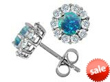 Original Star K™ Round 6mm Simulated Blue Opal Earrings style: 26640