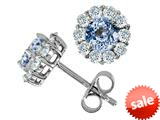 Original Star K™ Simulated Round Aquamarine Earrings style: 26655