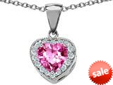 Original Star K™ 8mm Heart Shape Created Pink Sapphire Pendant style: 26701