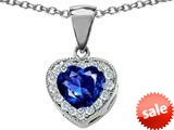 Original Star K™ 8mm Heart Shape Created Sapphire Pendant style: 26704