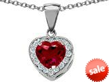 Original Star K™ 8mm Heart Shape Created Ruby Pendant style: 26705
