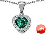 Original Star K™ 8mm Heart Shape Simulated Emerald Pendant style: 26706