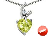 Original Star K™ Genuine Heart Shaped 8mm Lemon Quartz Pendant