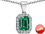 Original Star K™ Simulated Emerald Cut Emerald Pendant