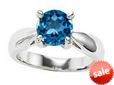 Original Star K™ Genuine Round 7mm Blue Topaz Engagement Rings